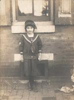 Girl in sailor suit with hat, Philadelphia.