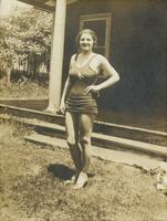 Young woman standing in bathing suit, Philadelphia.