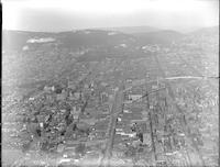 Aerial views of the city of Reading, Pennsylvania.