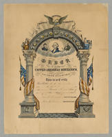 Order of the United American Mechanics. Founded July 8th, 1845. Honesty, industry & sobriety. [membership certificate]