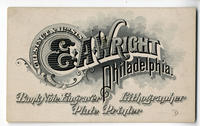 E. A. Wright, bank note engraver, lithographer, plate printer. Chestnut & 11th sts.