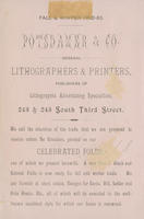 Fall & winter 1882-83. Potsdamer & Co. General lithographers & printers, publishers of lithographic advertising specialties, 243 & 245 South Third Street.