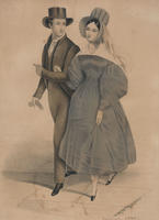 [Fashion print showing a couple attired in Quaker costume]