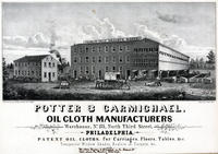 Potter & Carmichael, oil cloth manufacturers warehouse, No. 135, North Third Street, Philadelphia.