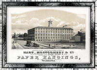Hart, Montgomery & Co. Successors to Isaac Pugh & Co. Manufacturers and importers of paper hangings, No. 118 Chestnut Street, Philadelphia. Manufactory N.E. Cor. Schuyl[kill] Front & Wood Streets