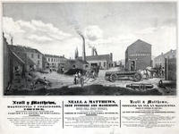 Neall Y Matthews, maquinistas y fundidores, de hierro en Bush Hill, esquina de las galles de Fairview y la septima de Schuylkill, Filadelfia = Neall & Matthews, iron founders and machinists, Bush Hill Iron Works, (formerly occupied by Rush & Muhlenberg,)