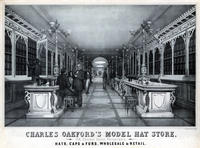 Charles Oakford's model hat store, 158, Chestnut Street Philadelphia. Hats, caps and furs, wholesale and retail.
