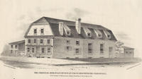 The original Moravian Church of 1746 to 1820 with the parsonage, S.E. corner of Moravian Alley (now Race St.) & Race St.