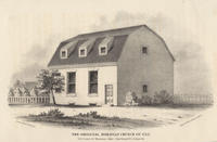The original Moravian Church of 1742. S.E. corner of Moravian Alley (now Bread St.) & Race St.
