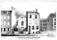 The original Moravian church of 1820. S.E. corner of Moravian Alley (now Bread Street) & Race St.