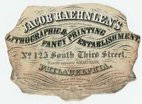 Jacob Haehnlen's lithographic & fancy printing establishment, No. 125 South Third Street, directly opposite Girard Bank, Philadelphia.