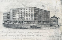 [Invitation to the opening of the Continental Hotel including an exterior view of the building]