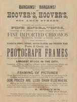 J. Hoover, pictures and frames, 628 Arch St., Philadelphia.