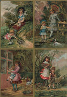 [Uncut sheet of four chromolithographs of children and animal scenes]