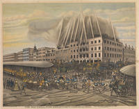 The old Phila. fire department. Period of 1850. The great engine contest on Sunday evening July 7th 1850 at 5th & Market sts.