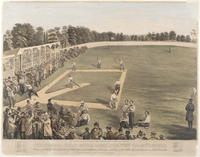 The second great match game for the championship, between the Athletic Base Ball Club of Philadelphia and the Atlantics of Booklyn, on the grounds of the Athletics, Fifteenth & Columbia Avenue, Phila., Oct. 22nd, 1866.