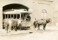[John Davis driving a horsecar out of a carbarn, Fifth & Sixth Street line, Fifth & Jackson Streets, Philadelphia.]
