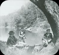 [George Doering and two nephews overlooking a stream in the Pocono Mountains, Pa.]