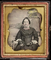 [Portrait of an unidentified young woman holding a daguerreotype.]