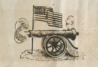 Cannon and flag woodcut