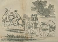 Transporting cannon woodcut