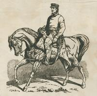 Mounted cavalry soldier woodcut