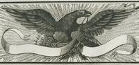 Eagle with banner woodcut