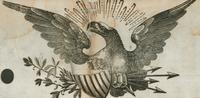 Eagle with shield woodcut