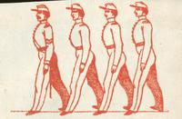 Soldiers marching woodcut
